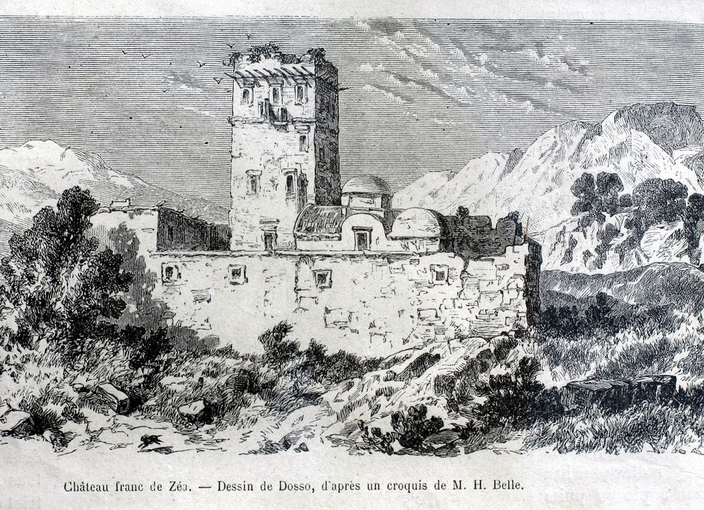 18th/19th Century Etching of the Agia Marina Monastery and Tower