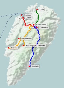 View the interactive Google map of the Bents' journeys in Keos